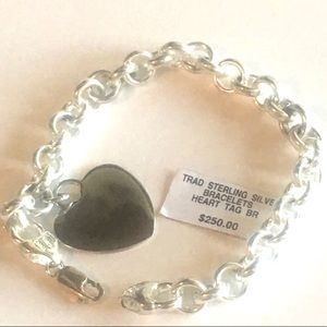Sterling Silver $275  Heart Charm Tag Bracelet NWT